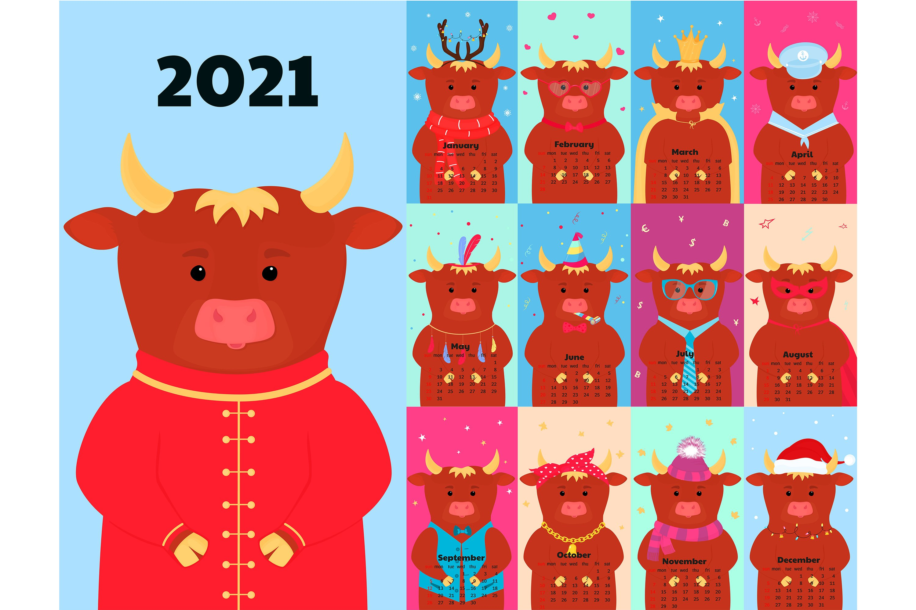 Download Calendar For 2021 With Funny Ox In A Variety Of Costumes 1078229 Illustrations Design Bundles