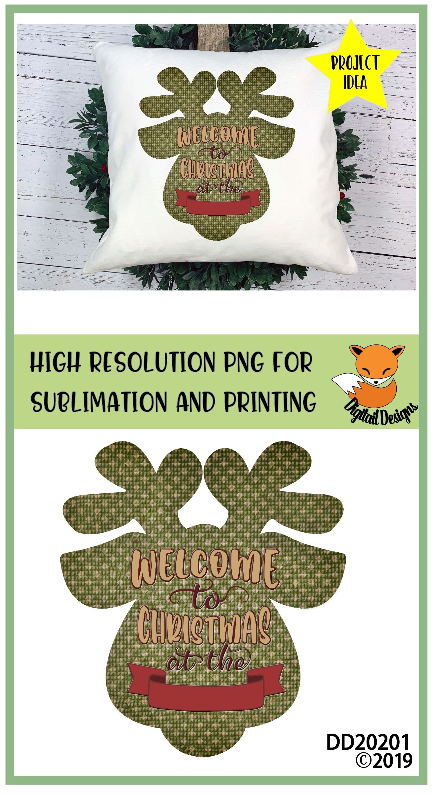 Customizable Welcome Reindeer Head PNG for Sublimation example image 2