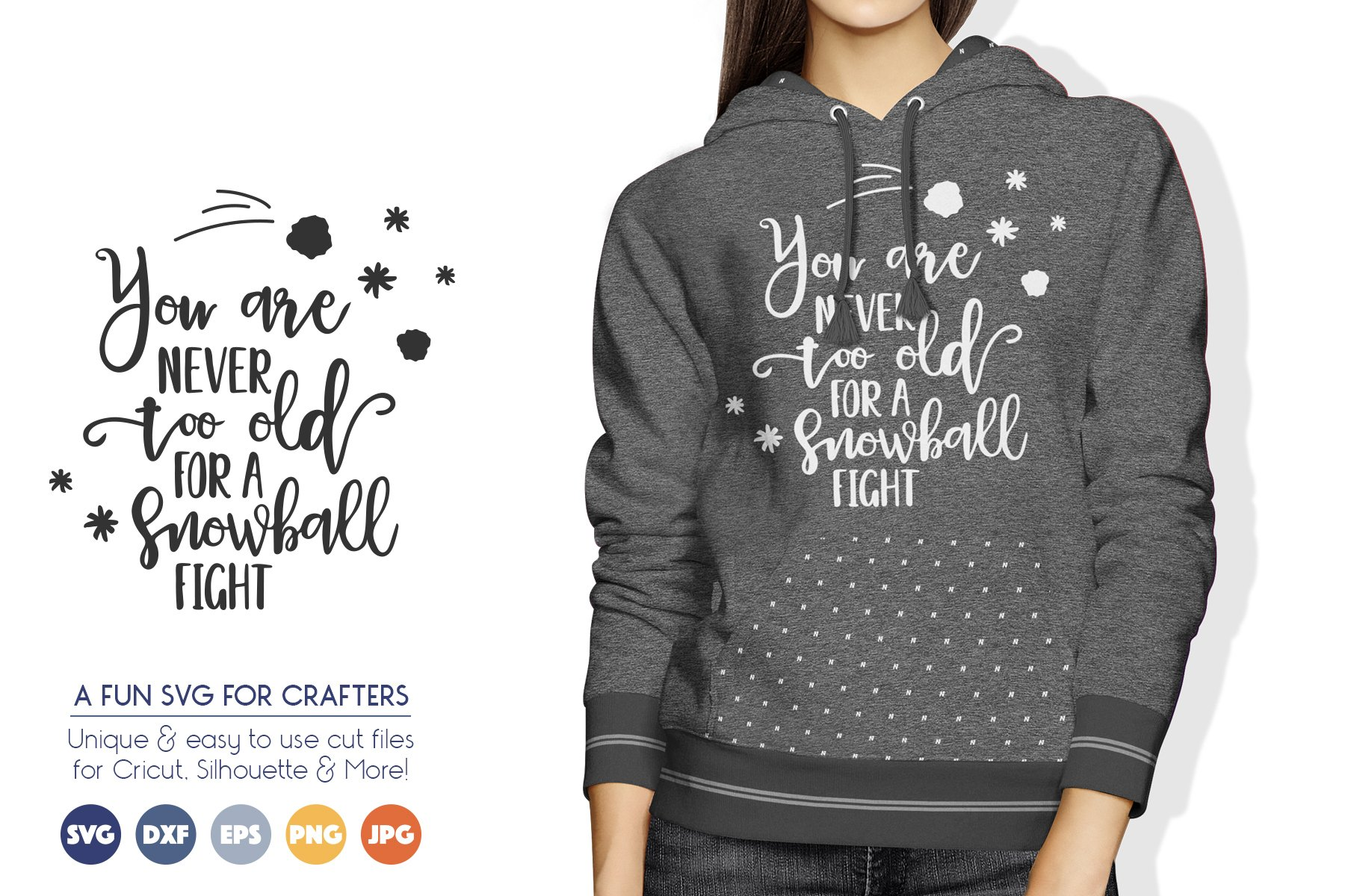 Winter SVG File for Crafters - Snowball Fight example image 1
