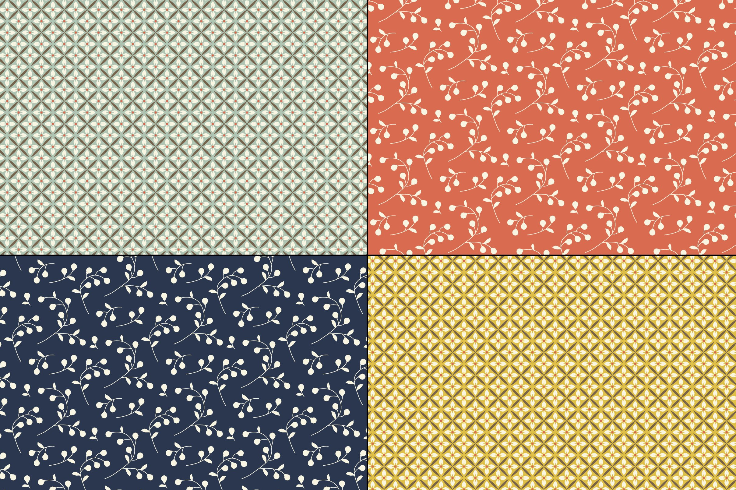 Seamless Retro Floral & Geometric Patterns example image 3