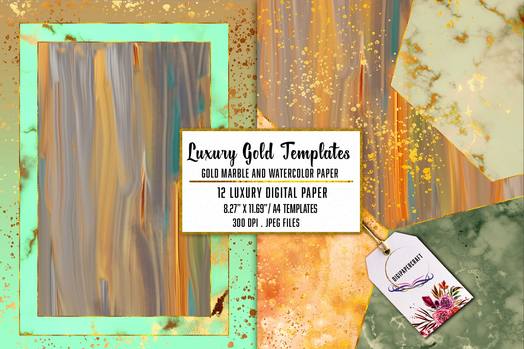 Gold Marble & watercolor geometric templates, Abstract Paper example image 2