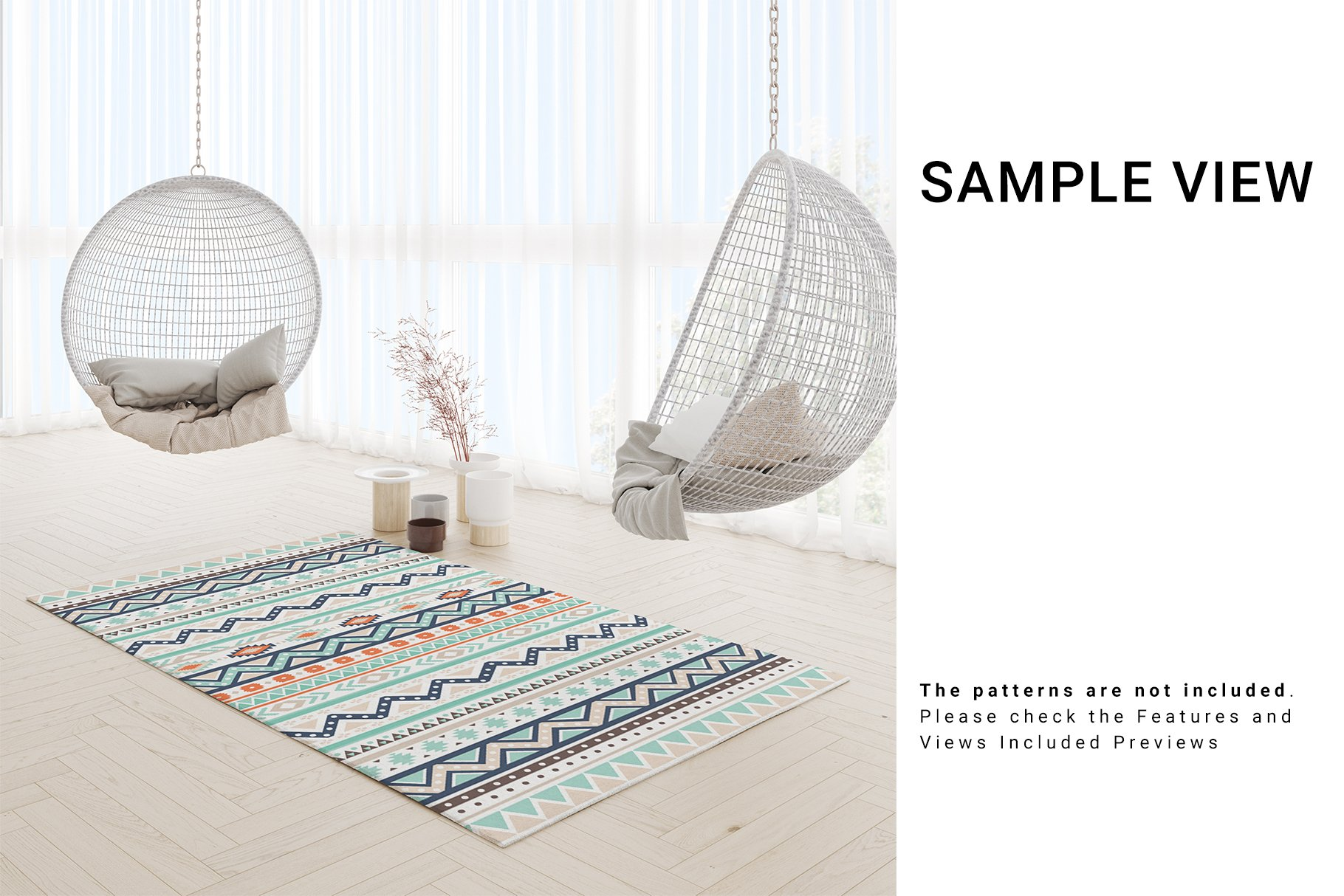 3 Types of Carpets in Living Room Mockup Set example image 8