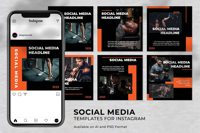 Fitness Instagram Social Media Template example image 1