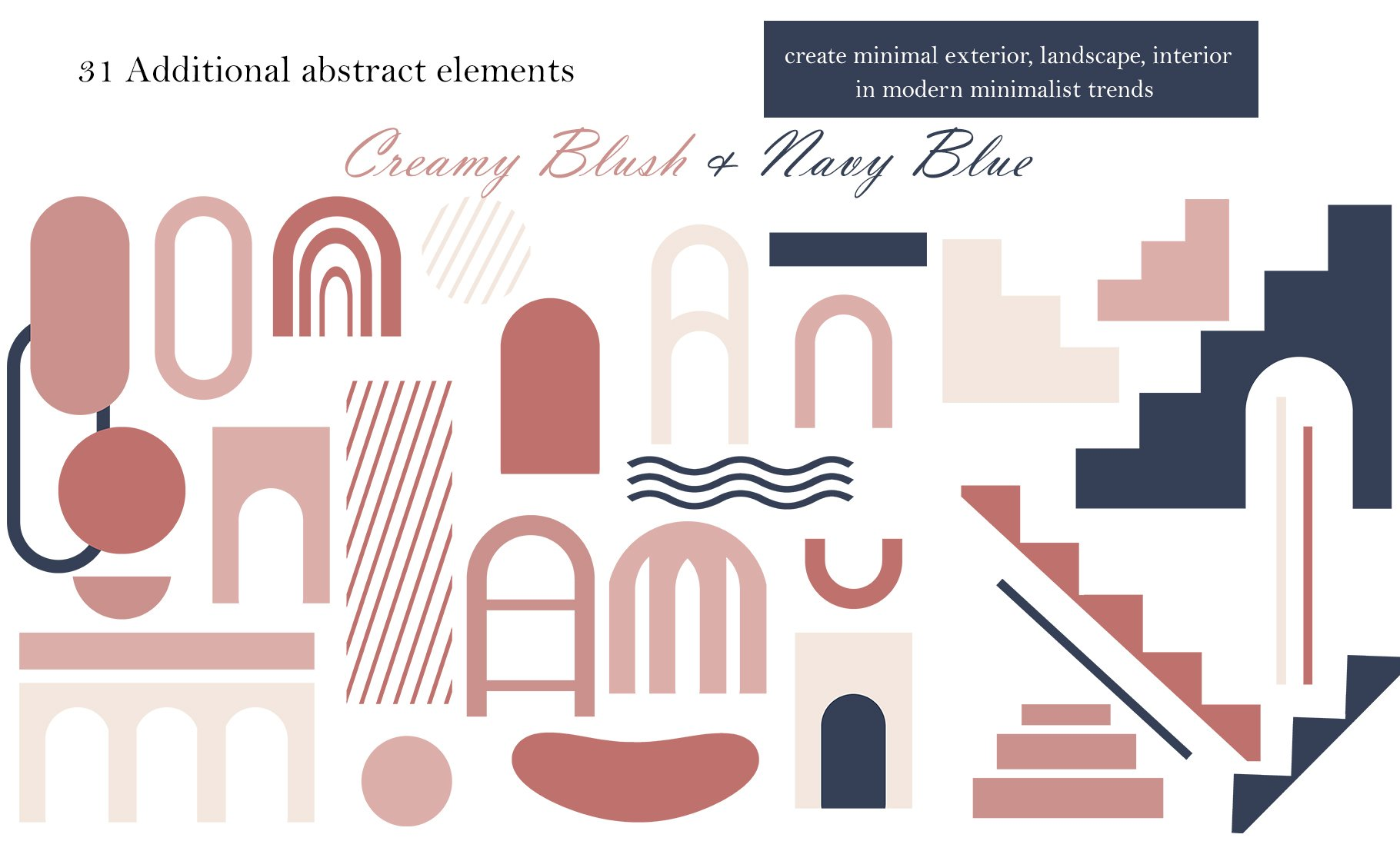 Abstract Collection CREAMY BlUSH & NAVY BLUE bundle prints example image 4