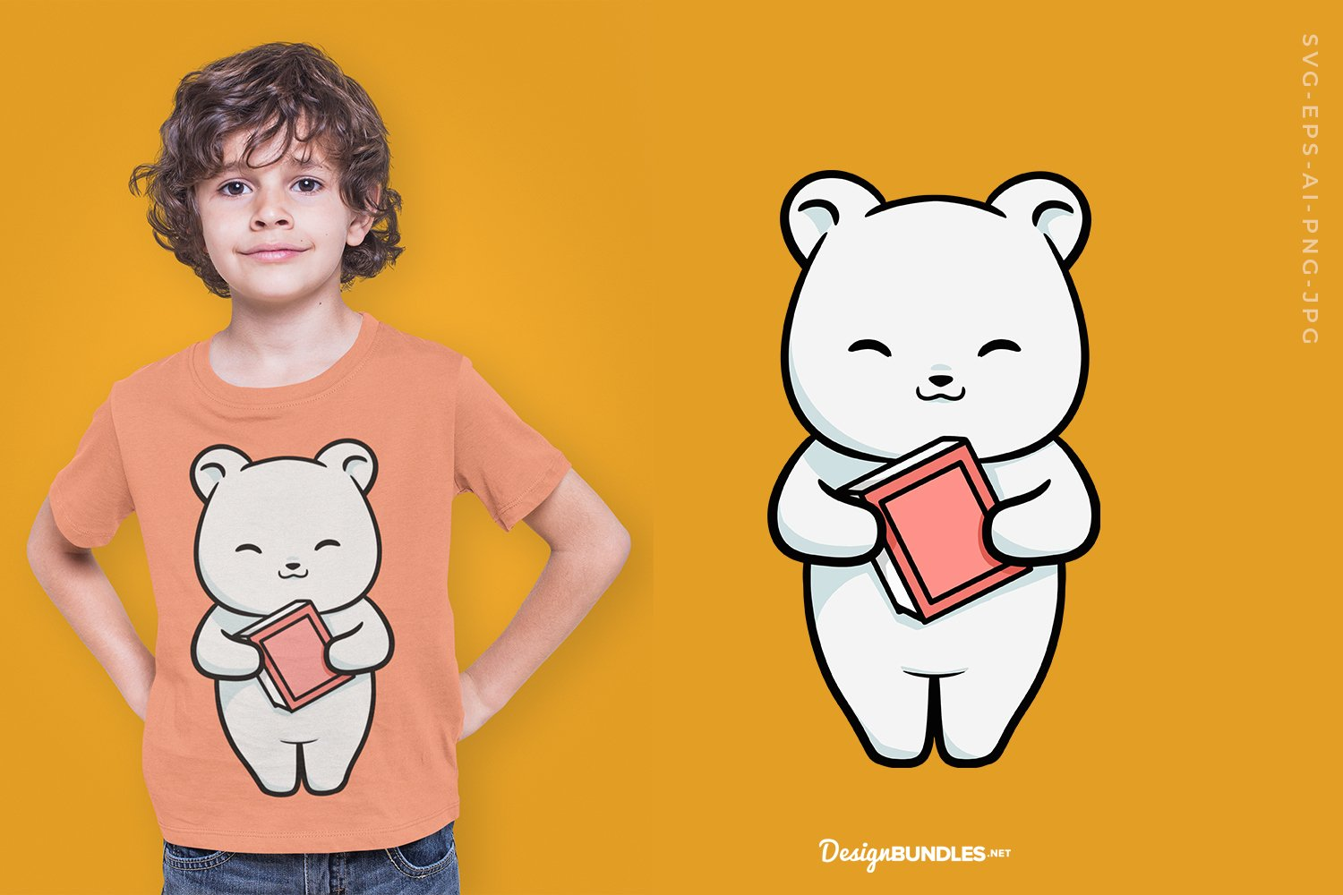 Cute bear holding a book T-Shirt Design example image 1