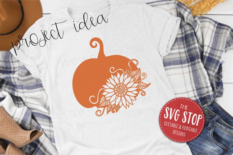 Pumpkin Sunflower Paper Cut Template Design example image 4