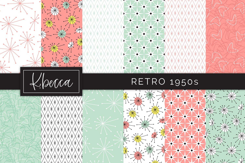 Retro 1950s Background Patterns Seamless 349758 Design Bundles
