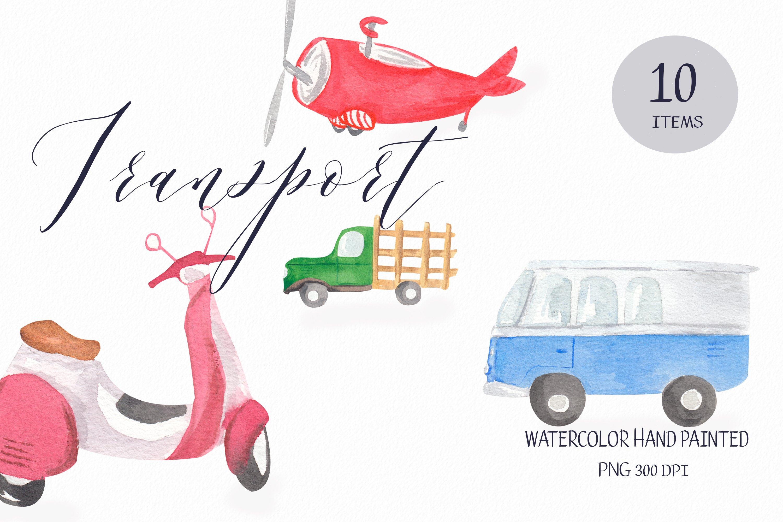 Download Transport Clipart Watercolor Car Illustration Travel Bus 1015890 Illustrations Design Bundles