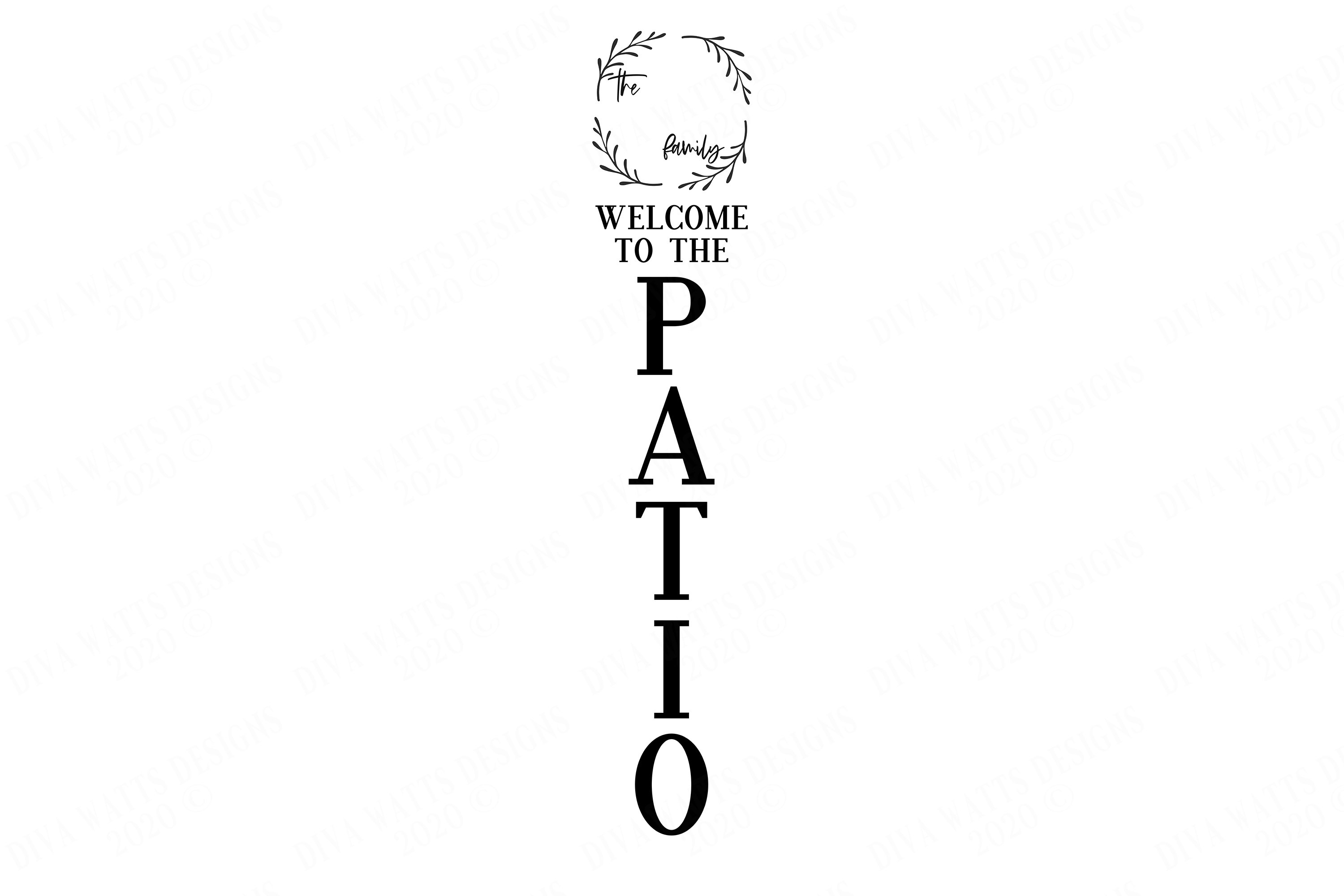 Vertical Welcome To The Patio Sign | Monogram Last Name example image 2