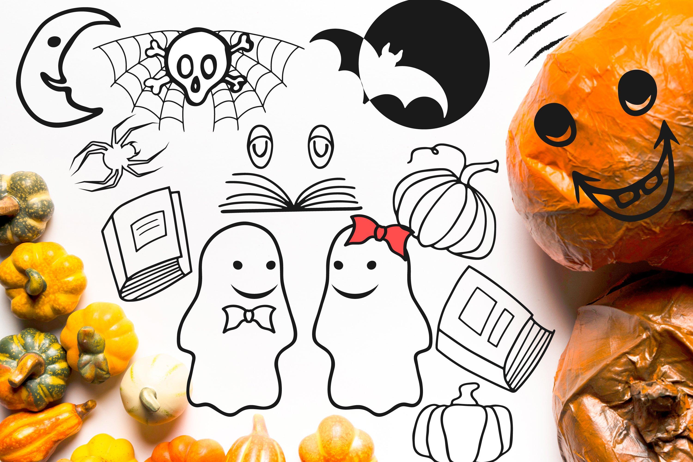 Doodle Halloween set. Digital elements example image 5