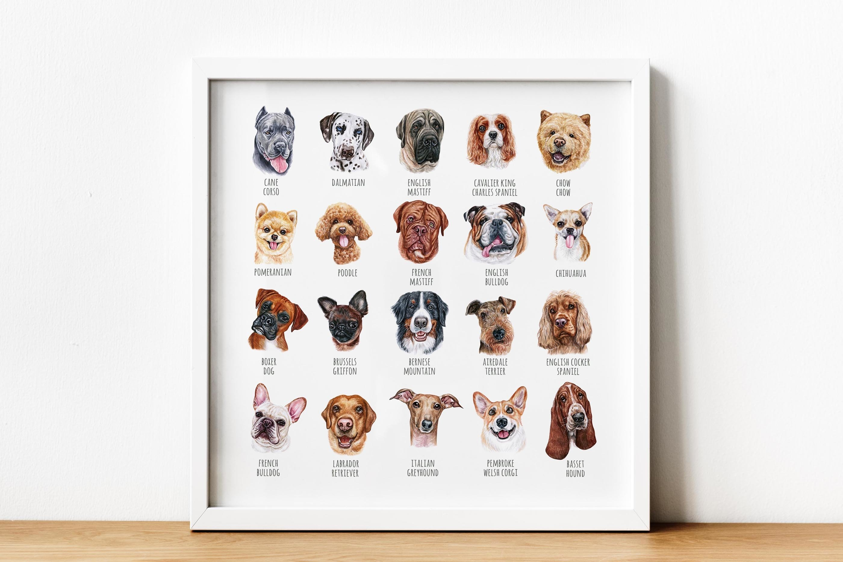 PART 1. Watercolor illustration set DOG breeds. Cute 20 dogs example image 4