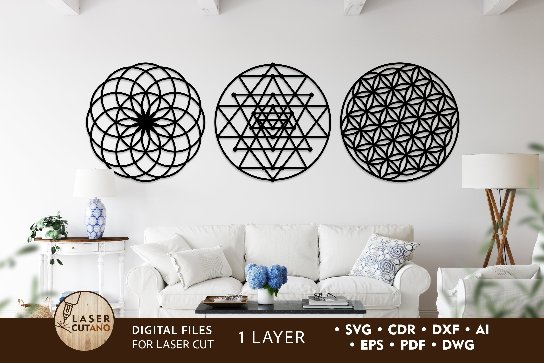 Sacred geometry 4 layer wall art