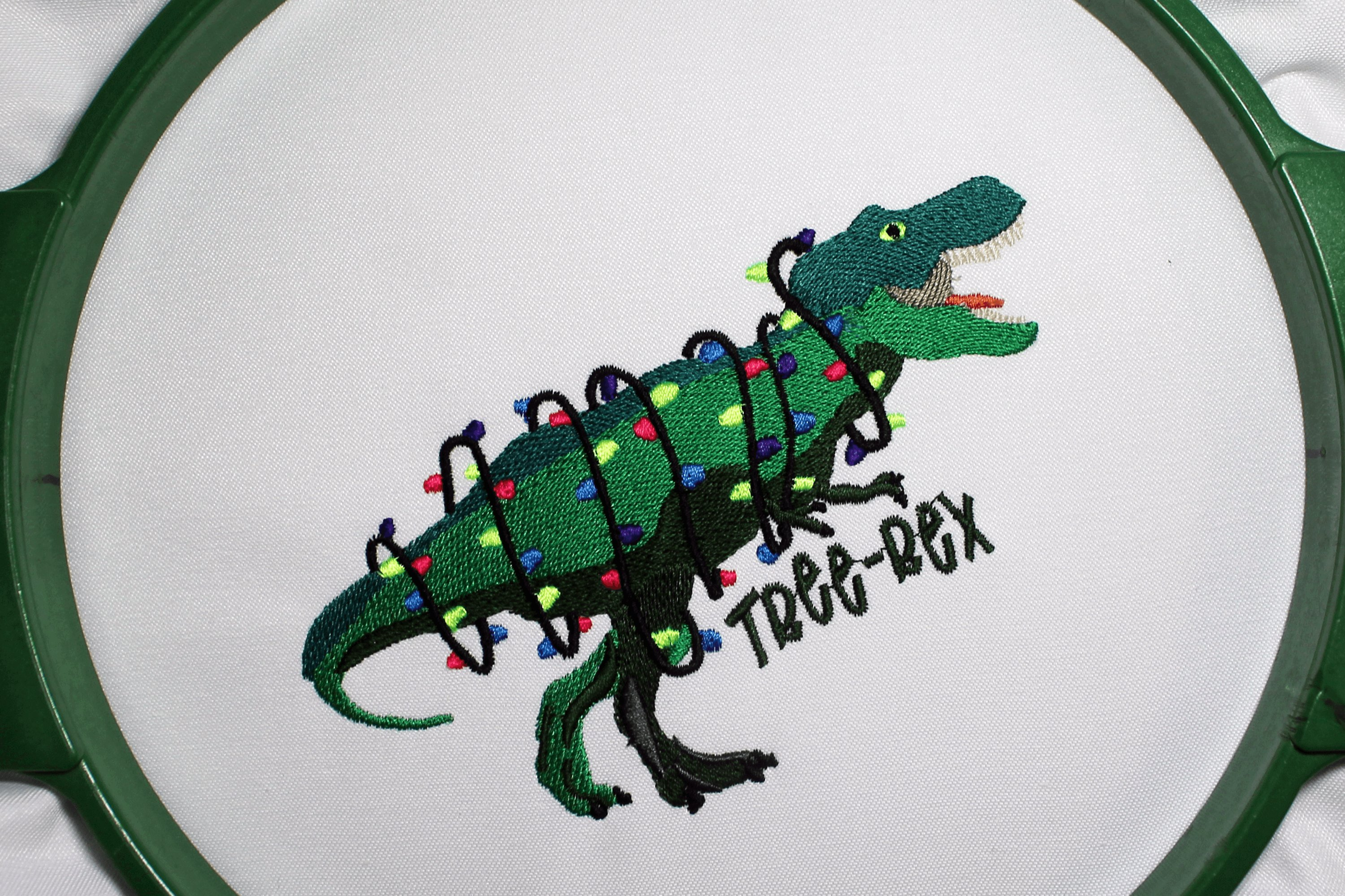 Christmas T-rex Embroidery 5 sizes, Tree-Rex with Lights example image 4