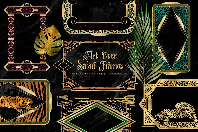 Art Deco Safar Frames Clipart example image 1