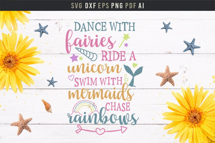 Dance with fairies, ride a unicorn, cute baby room quote svg example image 2