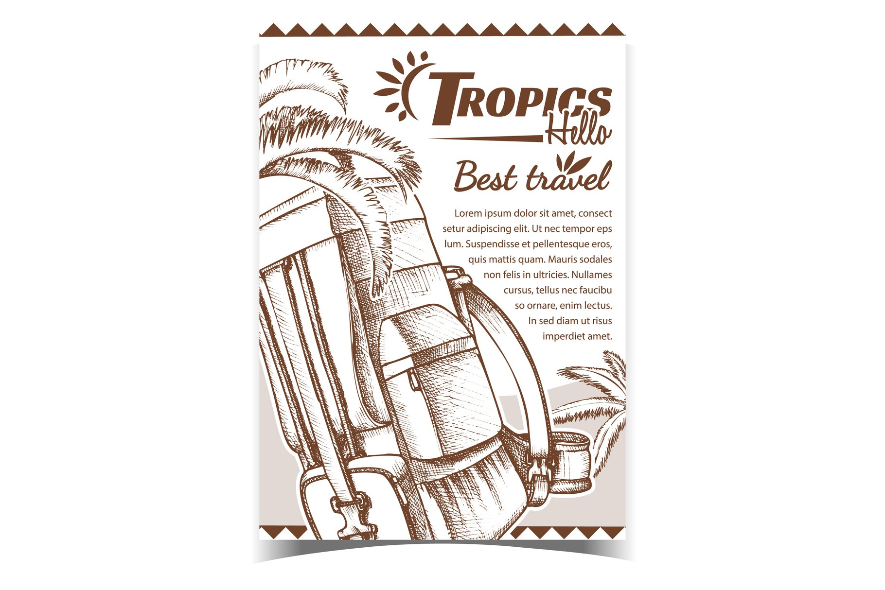 Tropics Travel Tourist Backpack Banner Vector example image 1