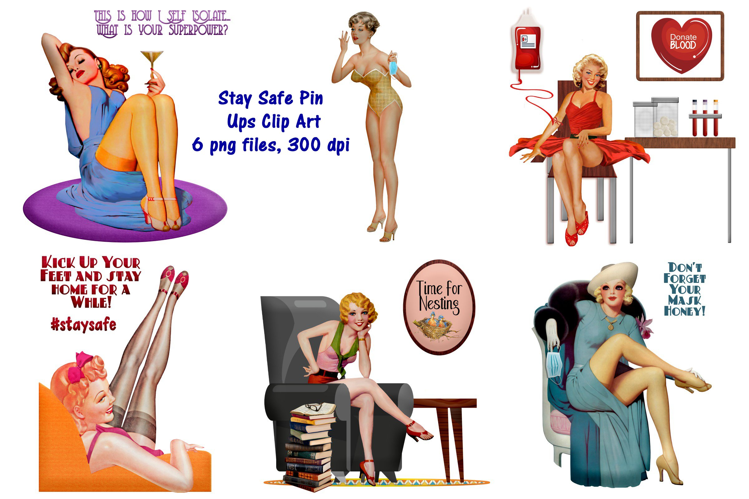 Stay Safe Retro Pin Up Girls Clip Art