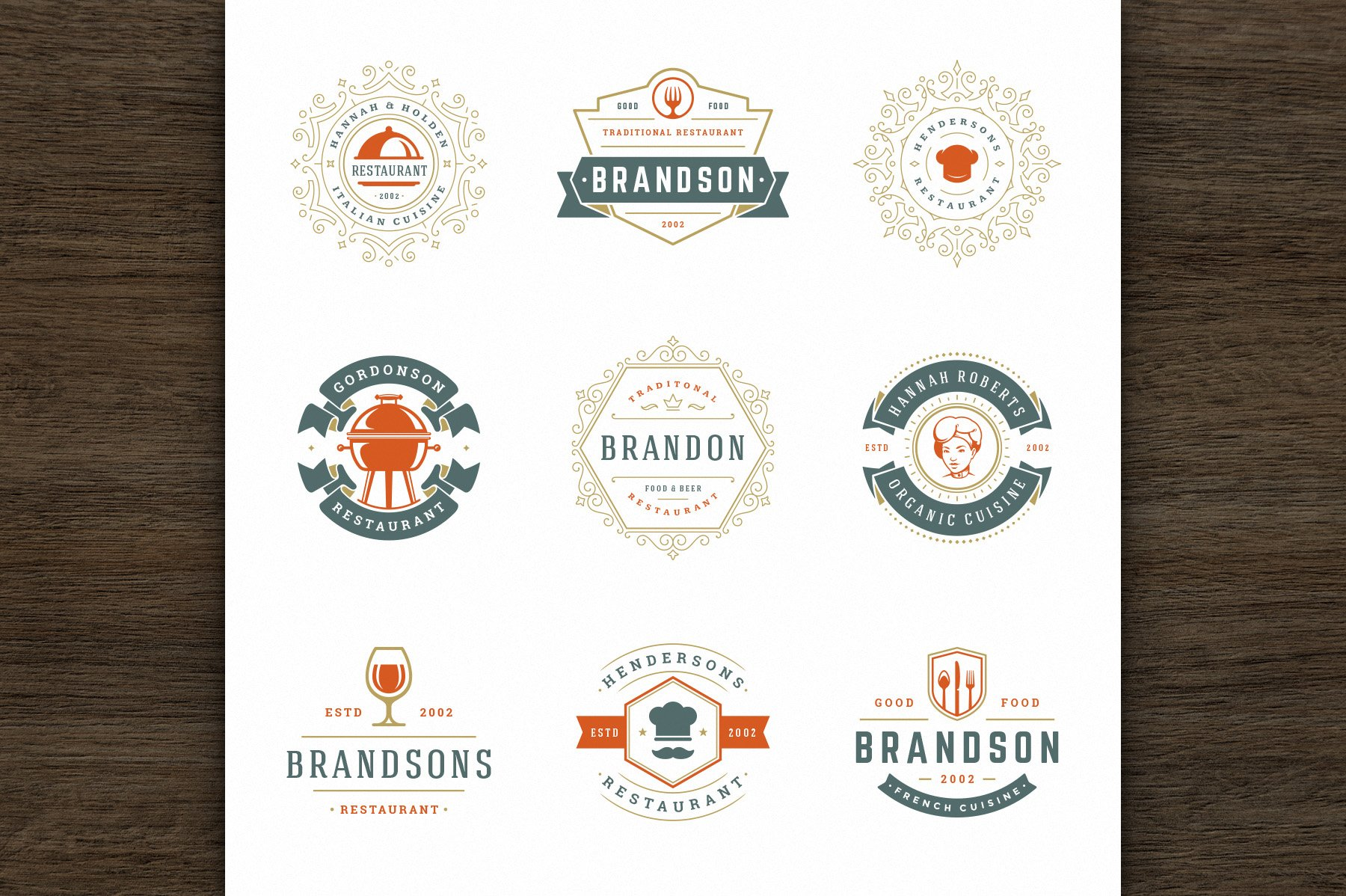36 Restaurant Logos and Badges example image 7