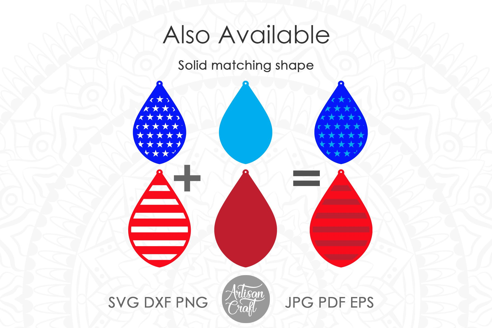 American flag earrings, Fourth of July earrings, svg example image 4