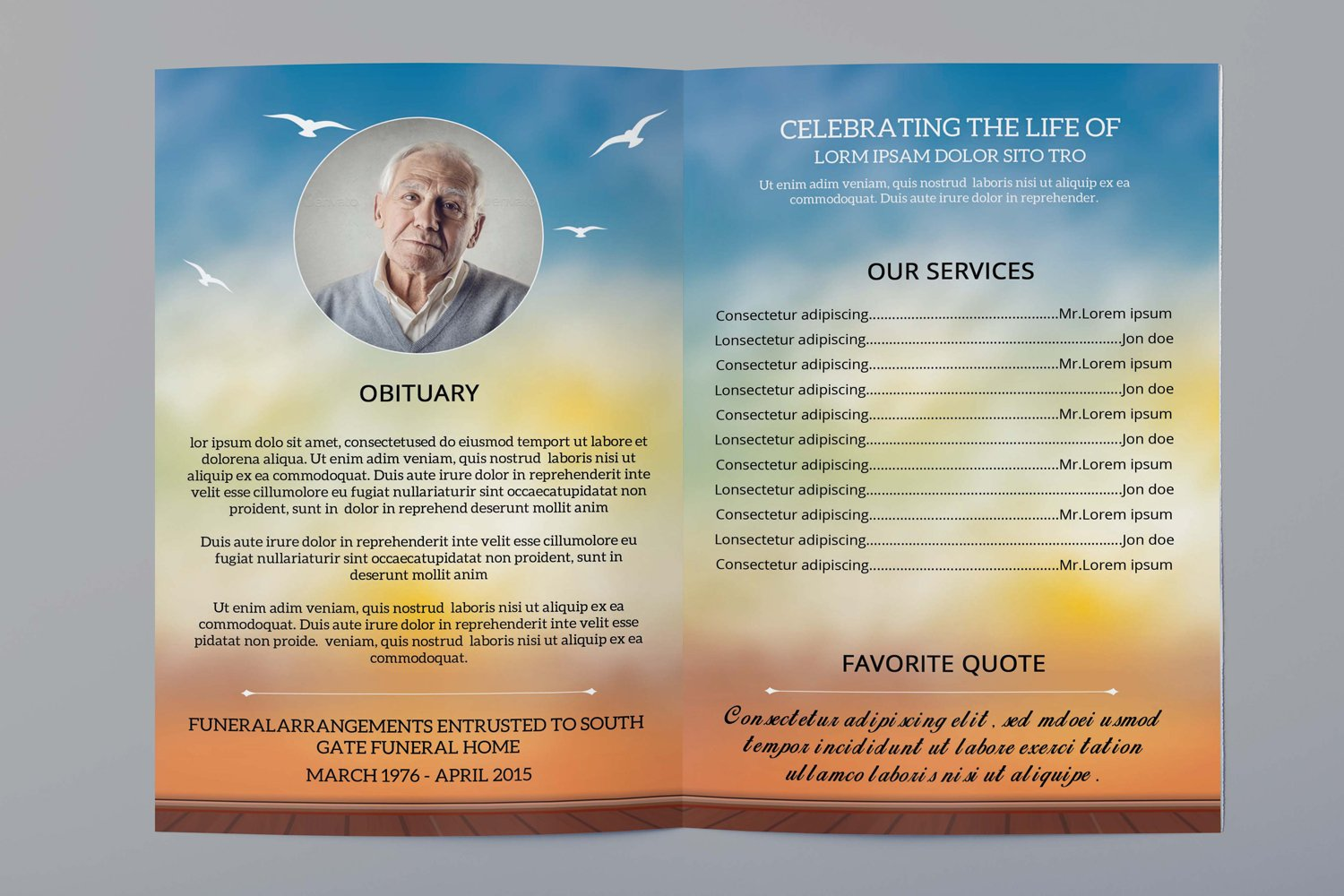 Funeral Program Template, Ms Word & Photoshop Template example image 5