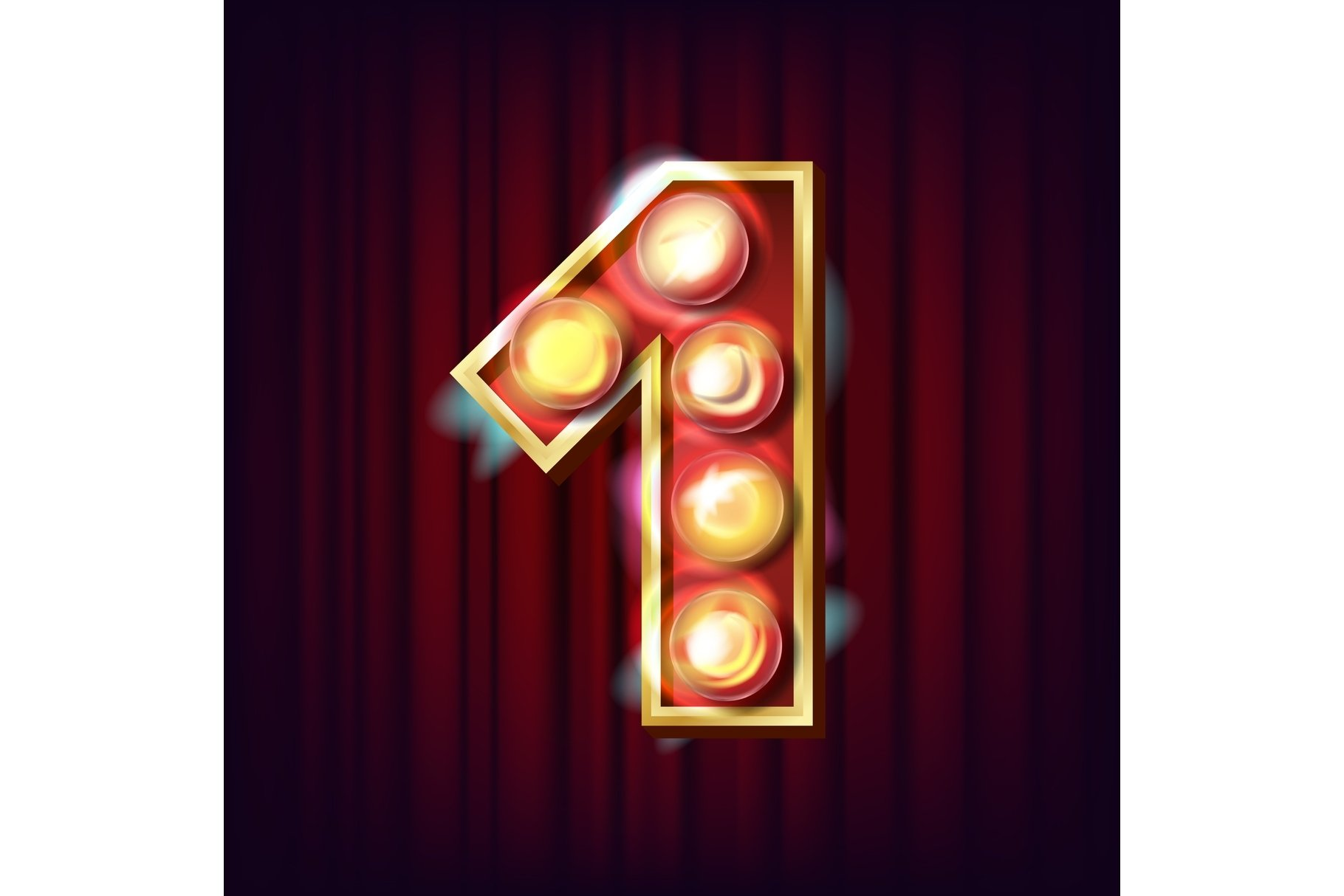 1 Number Vector. One Font Marquee Light Sign. Realistic example image 1