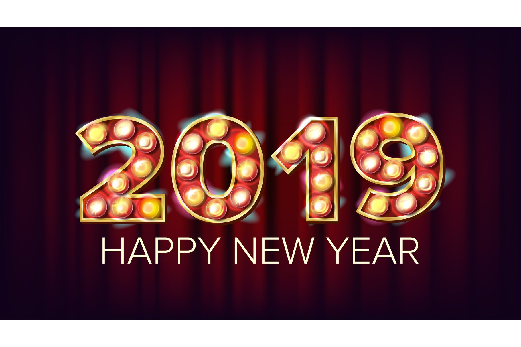 2019 Happy New Year Vector. Background Decoration. Greeting example image 1