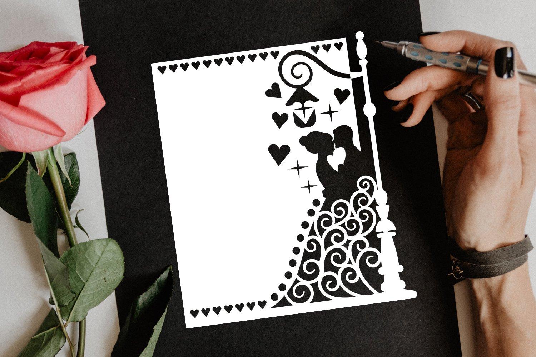 Papercut Wedding Couple, Hearts, Spirals, Street Light example image 4