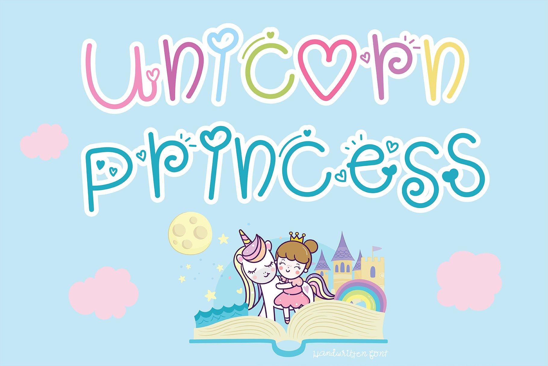 Unicorn princess Handwritten- Cute font Kawaii style example image 6