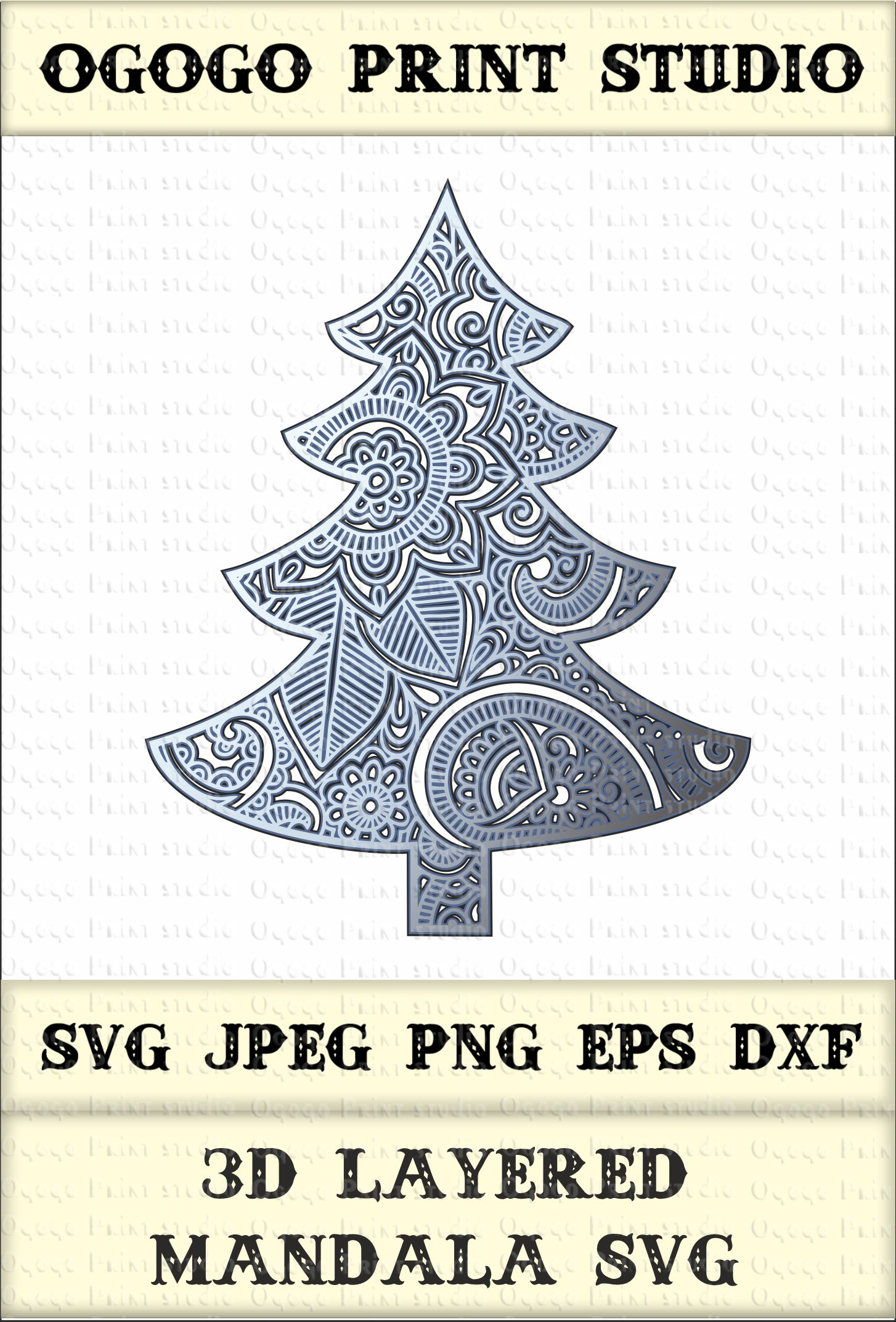 Download 3D Layered Mandala SVG, Christmas tree Svg, Zentangle Svg ...