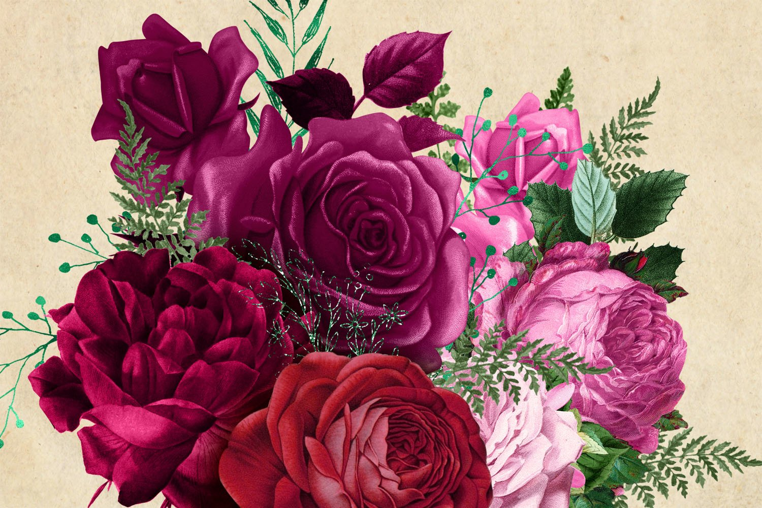 Magenta Bouquets Clipart example image 3