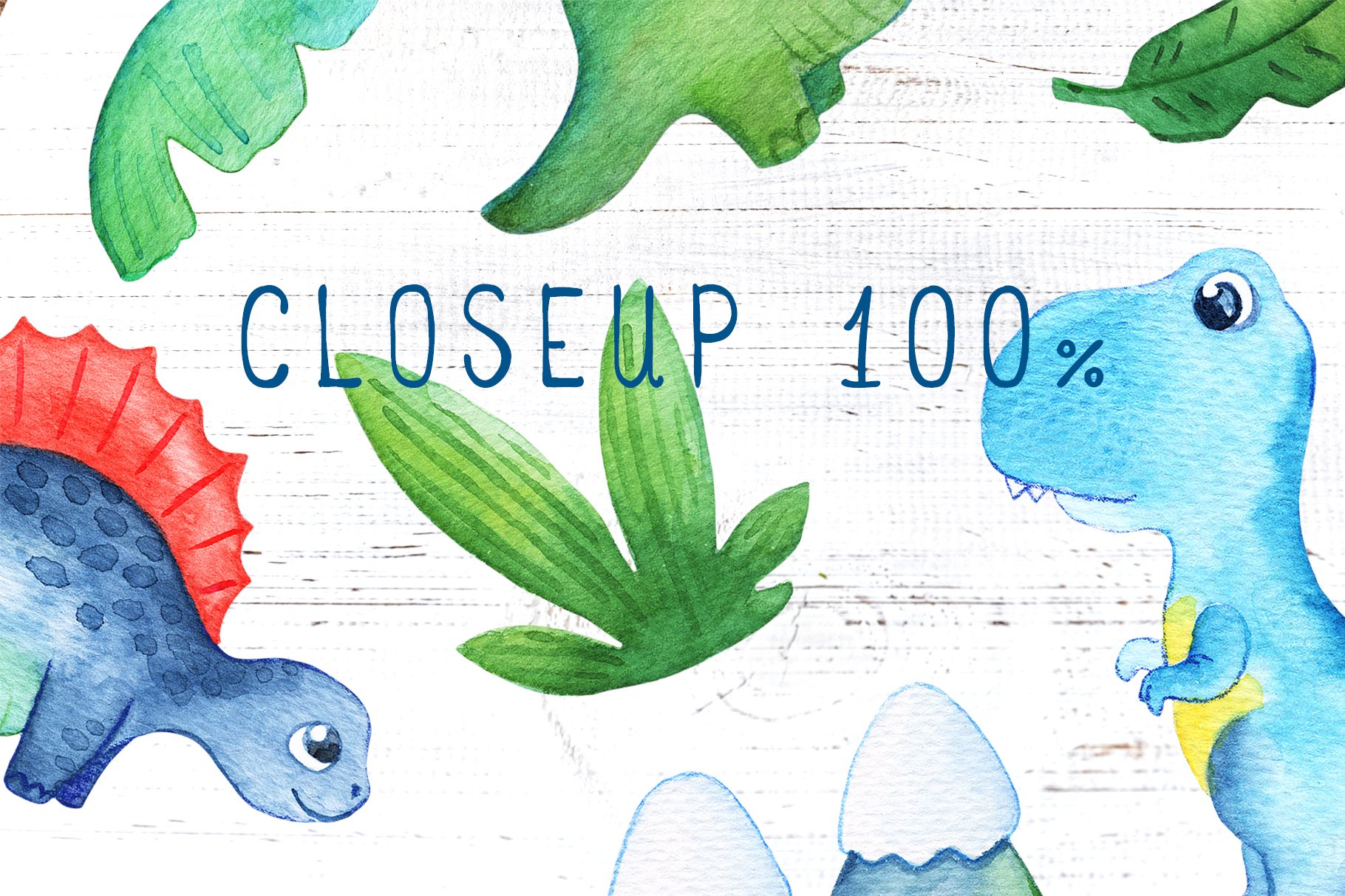 Watercolor Dinosaur Seamless Pattern Collection example image 2
