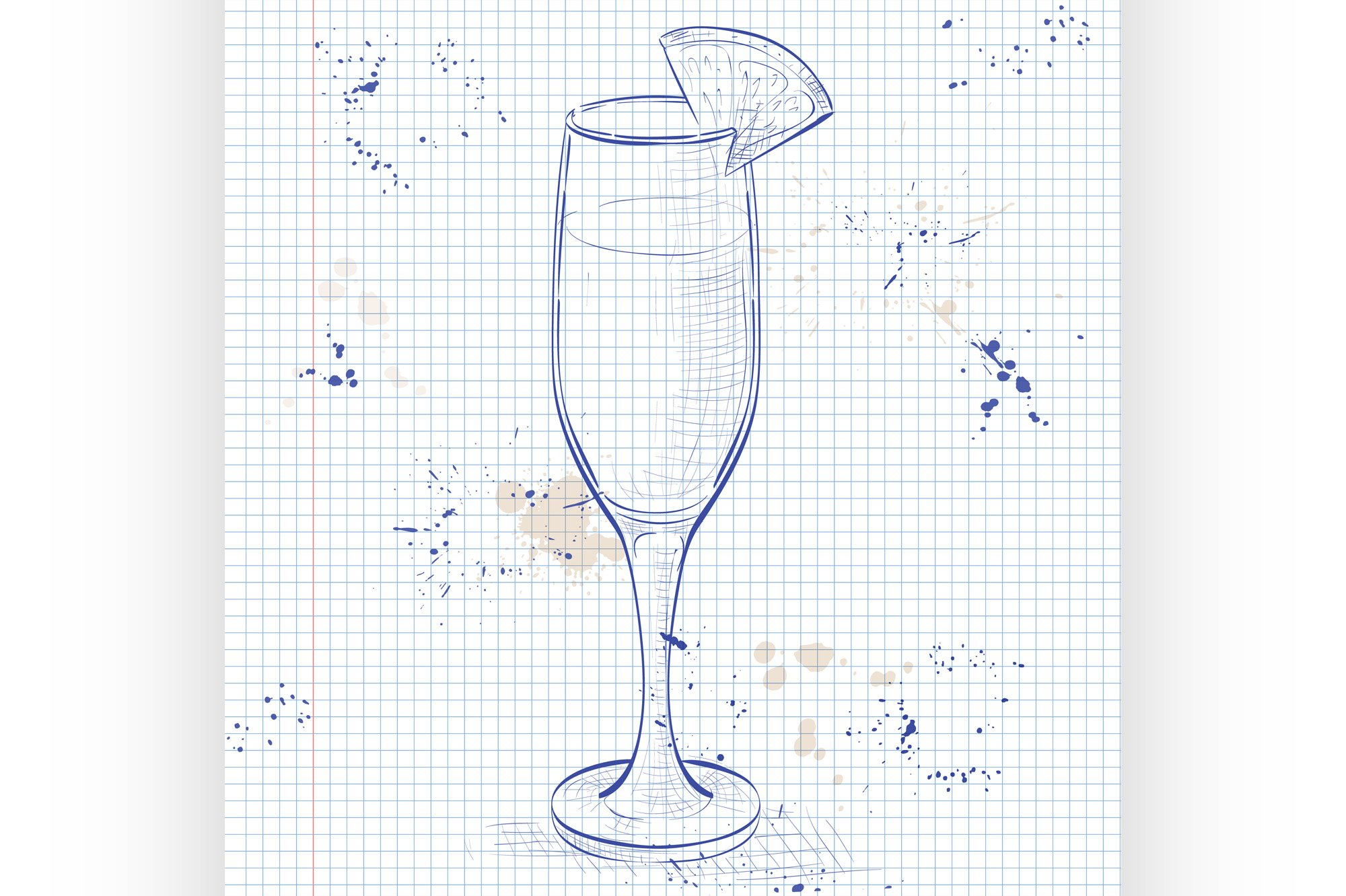 Cocktail alcohol Mimosa on a notebook page example image 1