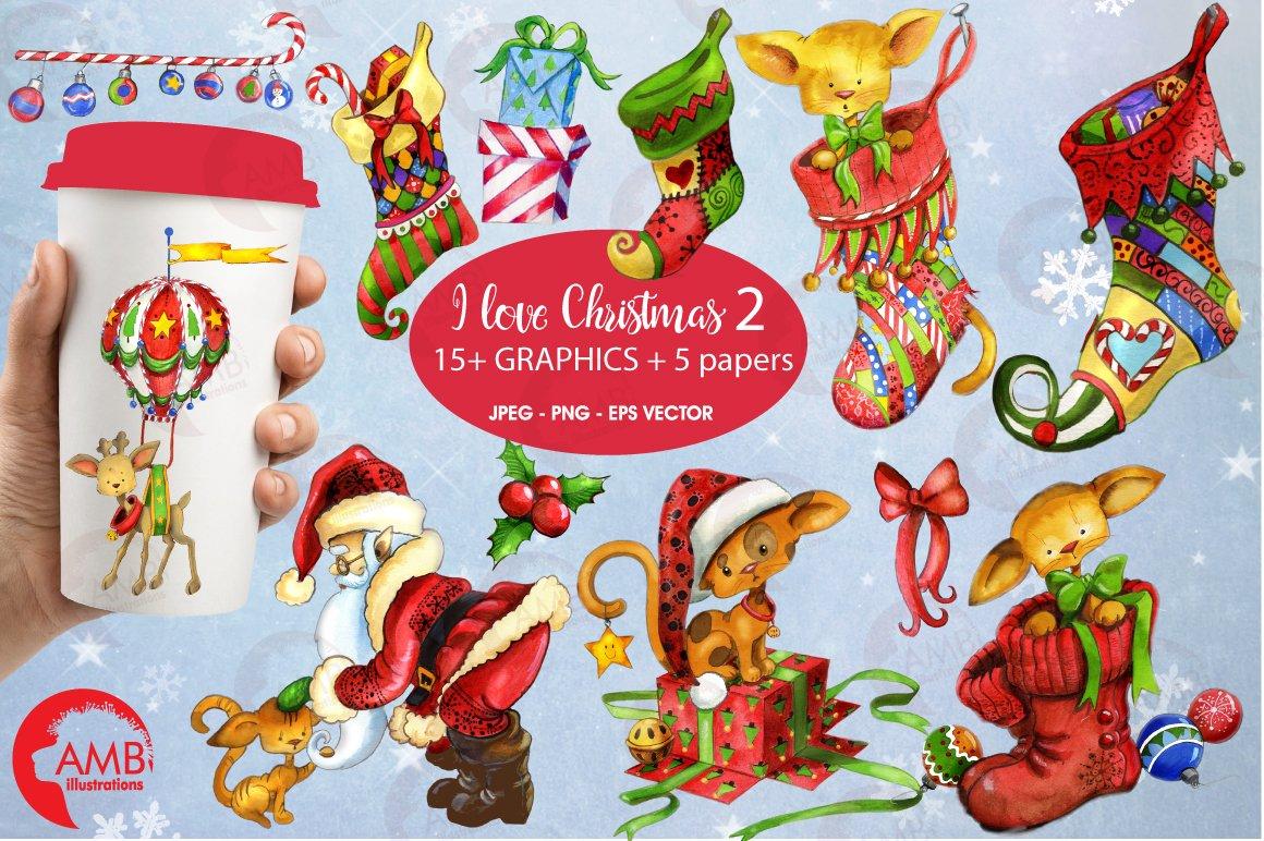 Christmas Bundle watercolor clipart 2
