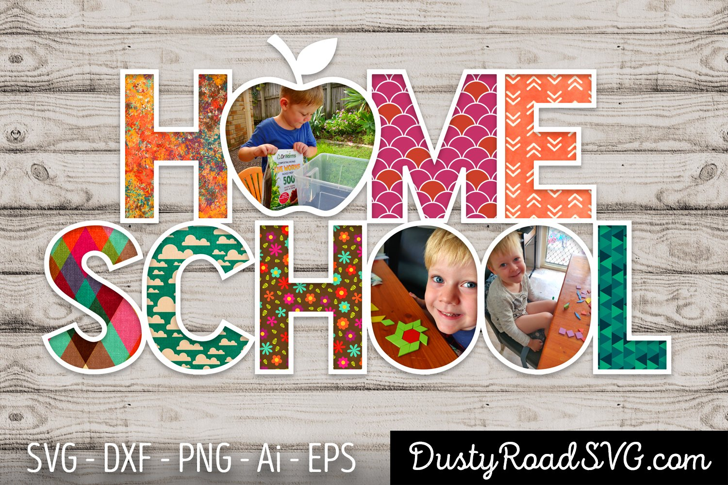 HOME SCHOOL - Scrapbook - cut file - svg png eps dxf example image 1