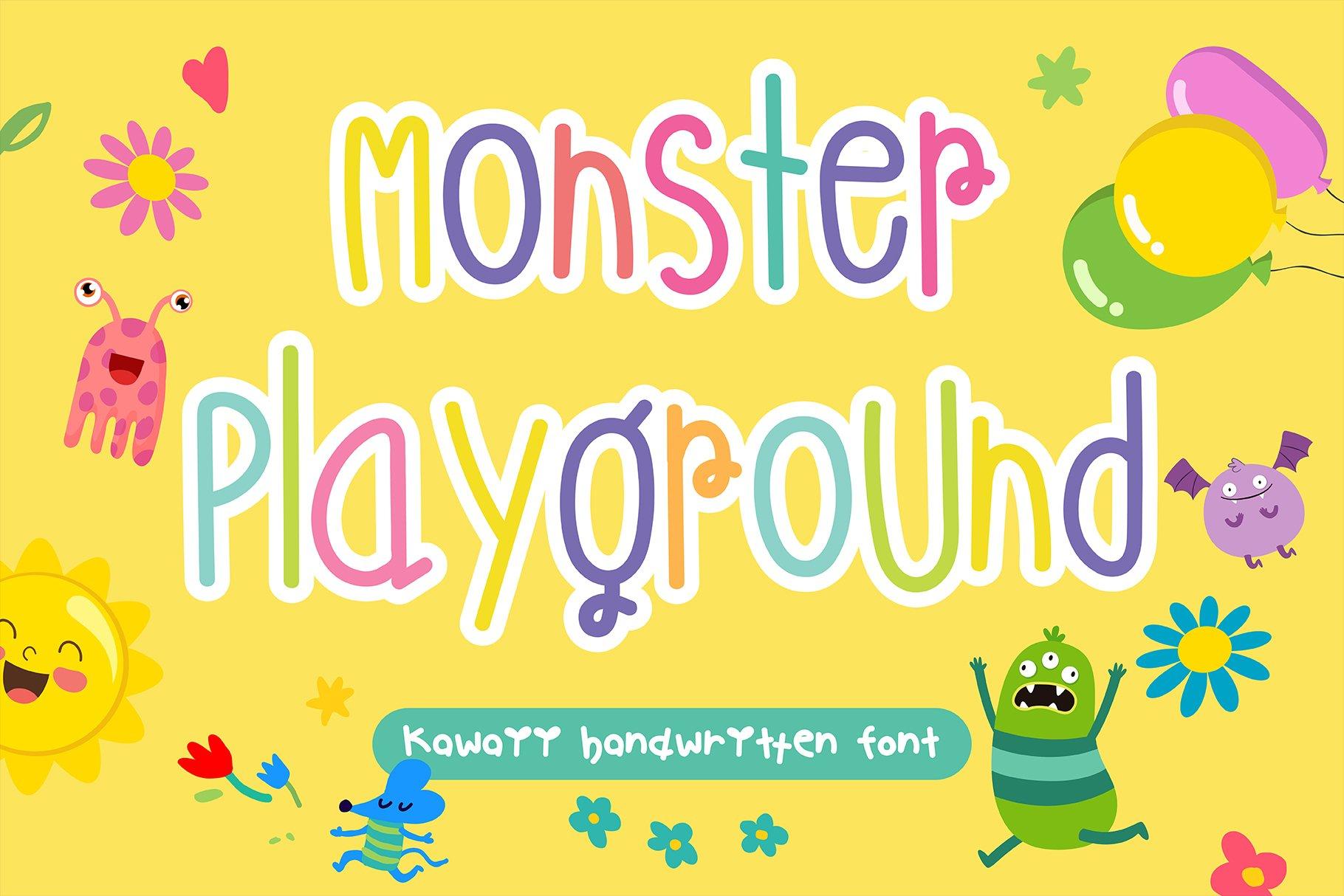 Monster Playground Handwritten- cute kid font Kawaii style! example image 1