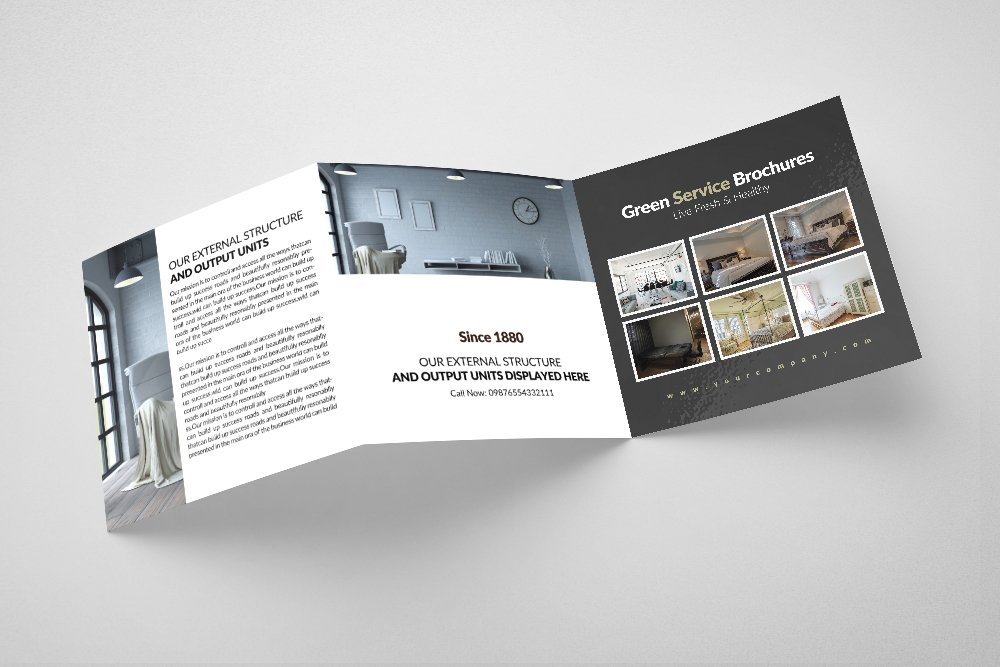 Luxury Hotel Square Trifold Brochure example image 3