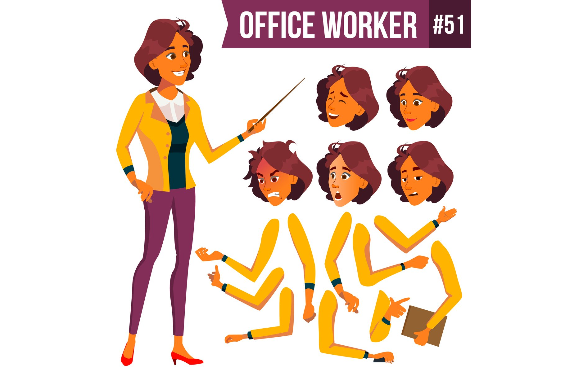 Office Worker Vector. Woman. Successful Officer, Clerk example image 1