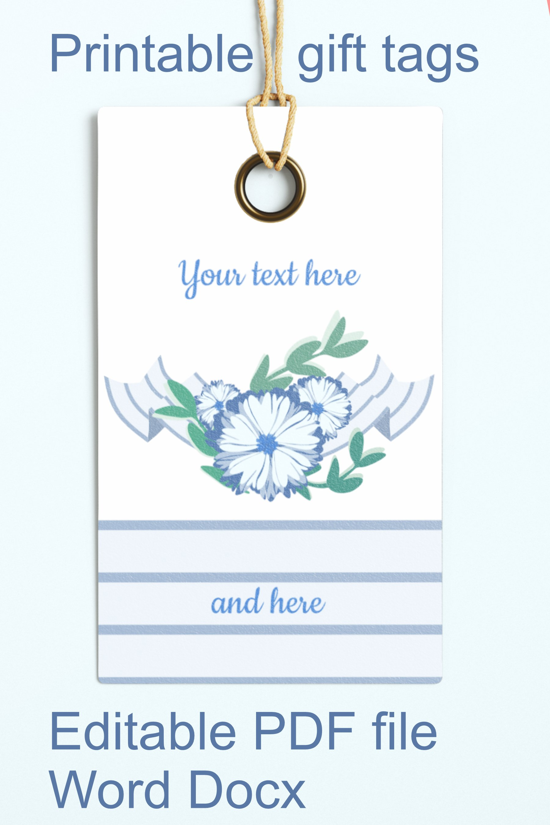Blue Baby Shower Floral Gift Tags Editable PDF Word Template example image 4