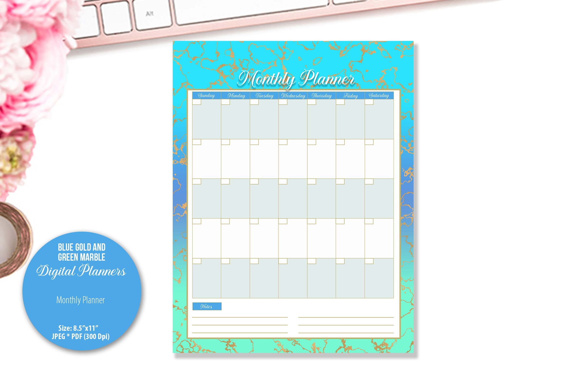 Blue Gold and Green Marble Digital Planner example image 4