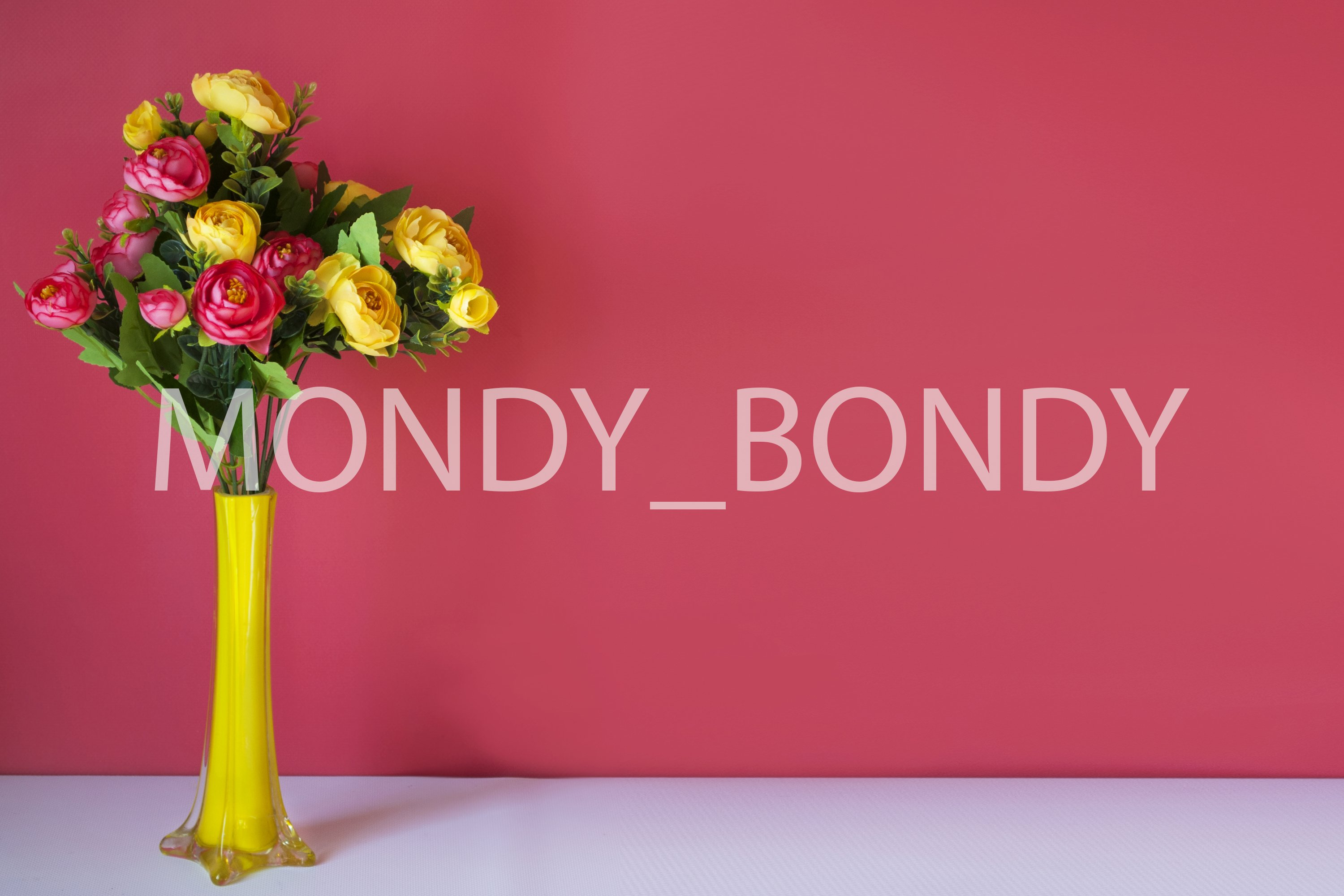 Yellow-pink flowers in a yellow vase on a pink background. example image 1