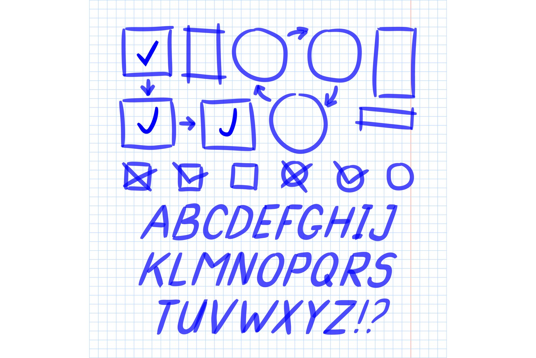 Marker Hand Written Doodle Letters And Symbols Vector example image 1