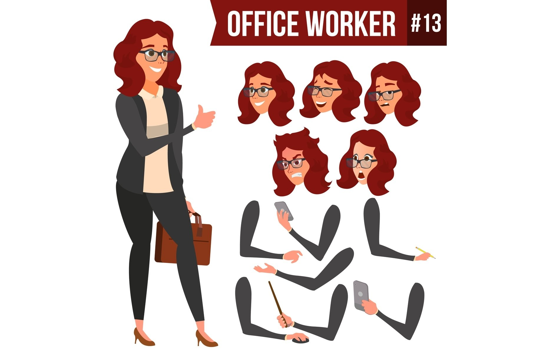 Office Worker Vector. Woman. Happy Clerk, Servant, Employee. example image 1