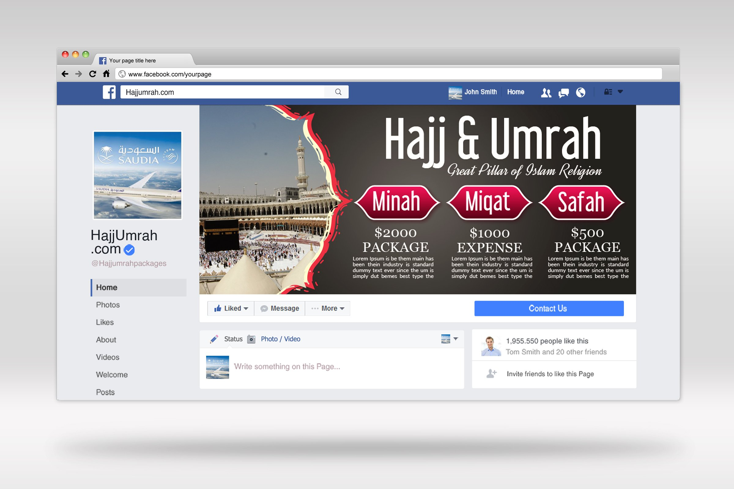 Umrah & hajj Packages Facebook Banner example image 2