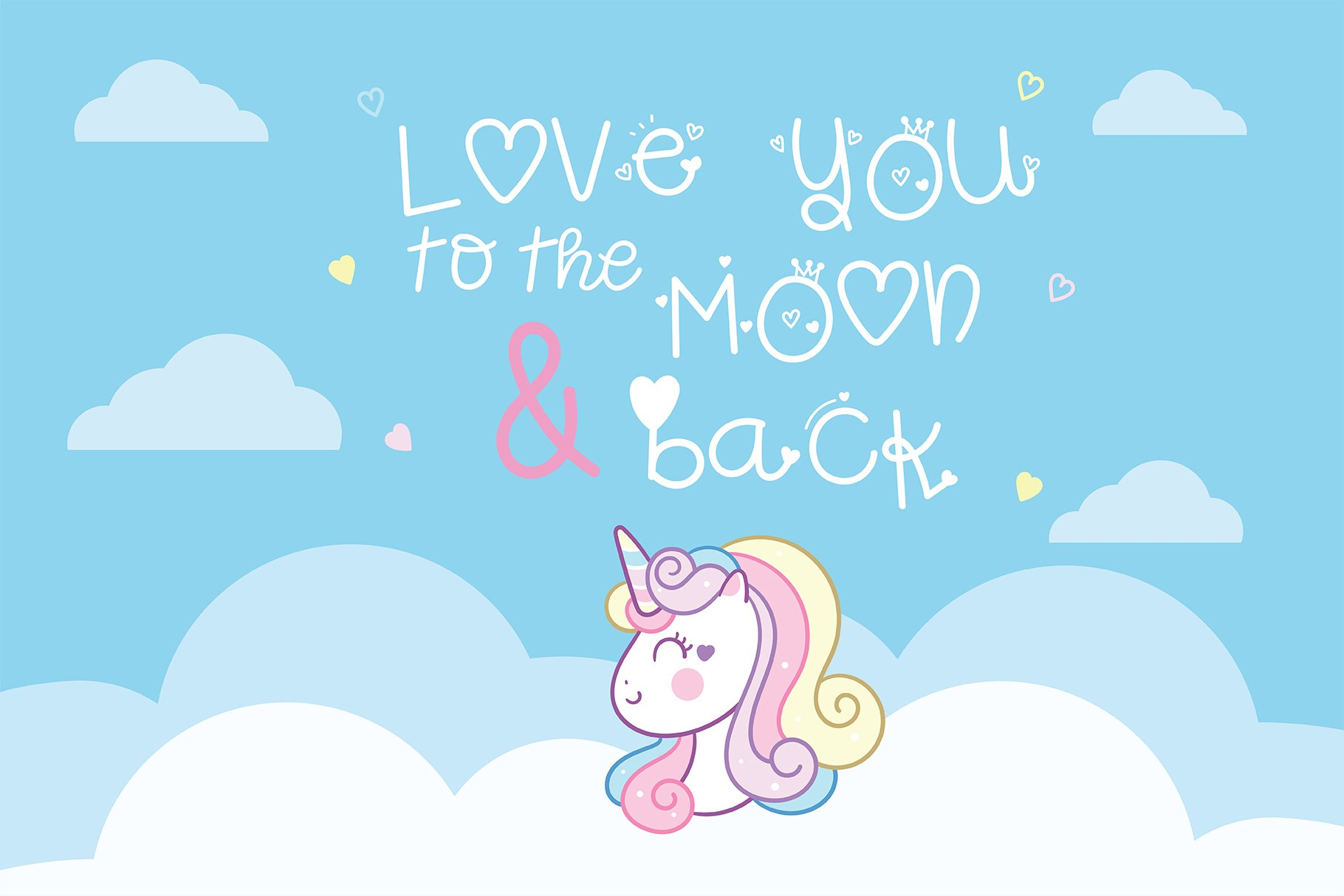Unicorn princess Handwritten- Cute font Kawaii style example image 2