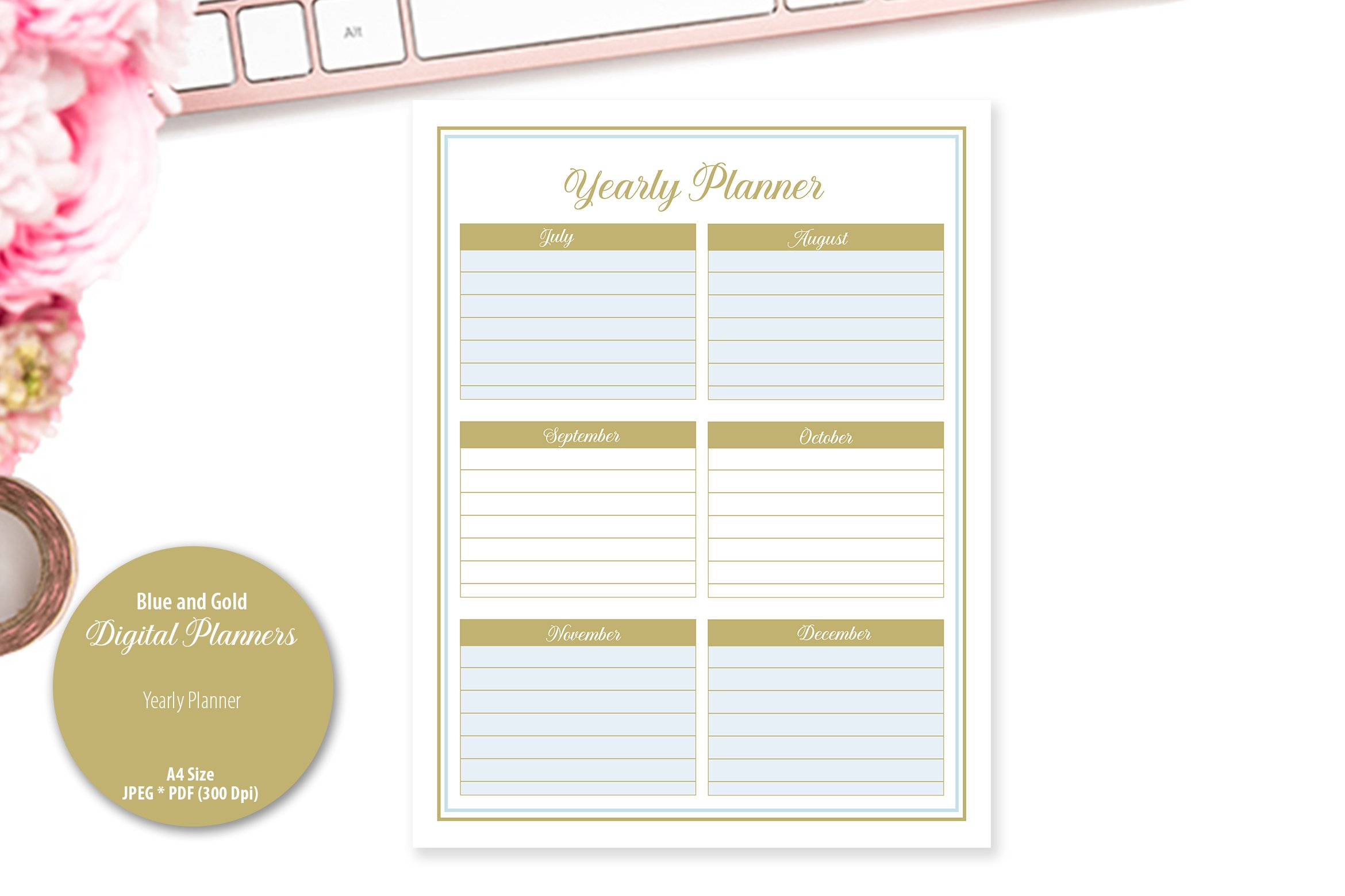 Blue and Gold Digital Planner example image 5