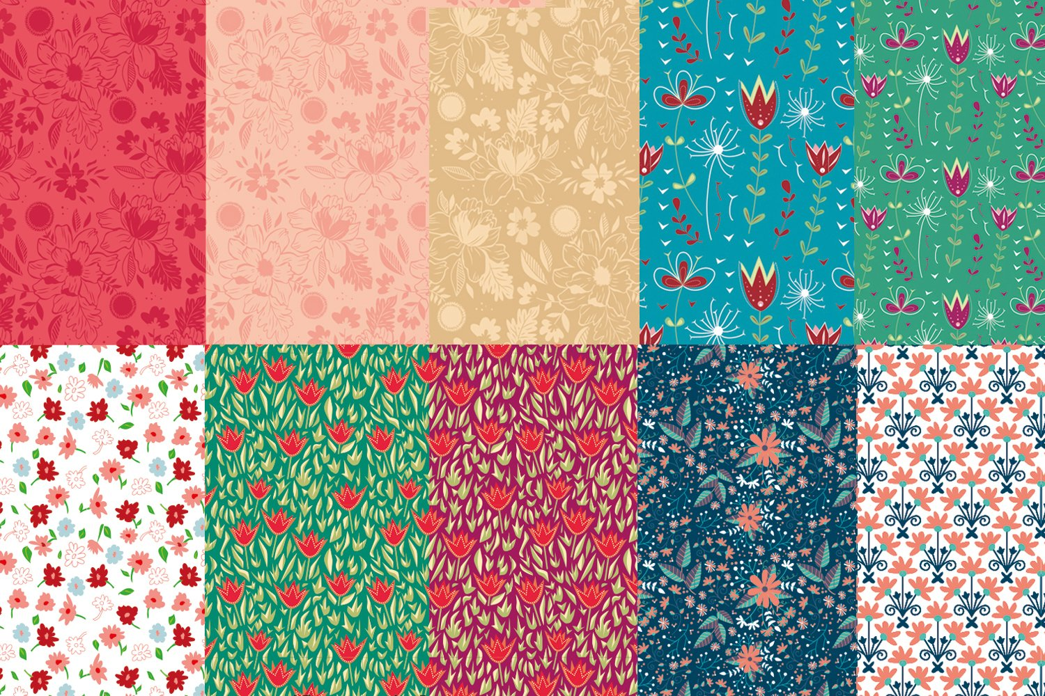seamless pattern - flowers and ornaments example image 1