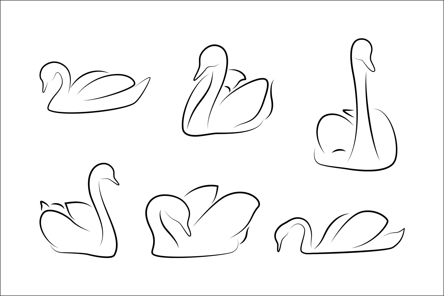 Swan line Clip Art Vector SVG Illustration example image 2