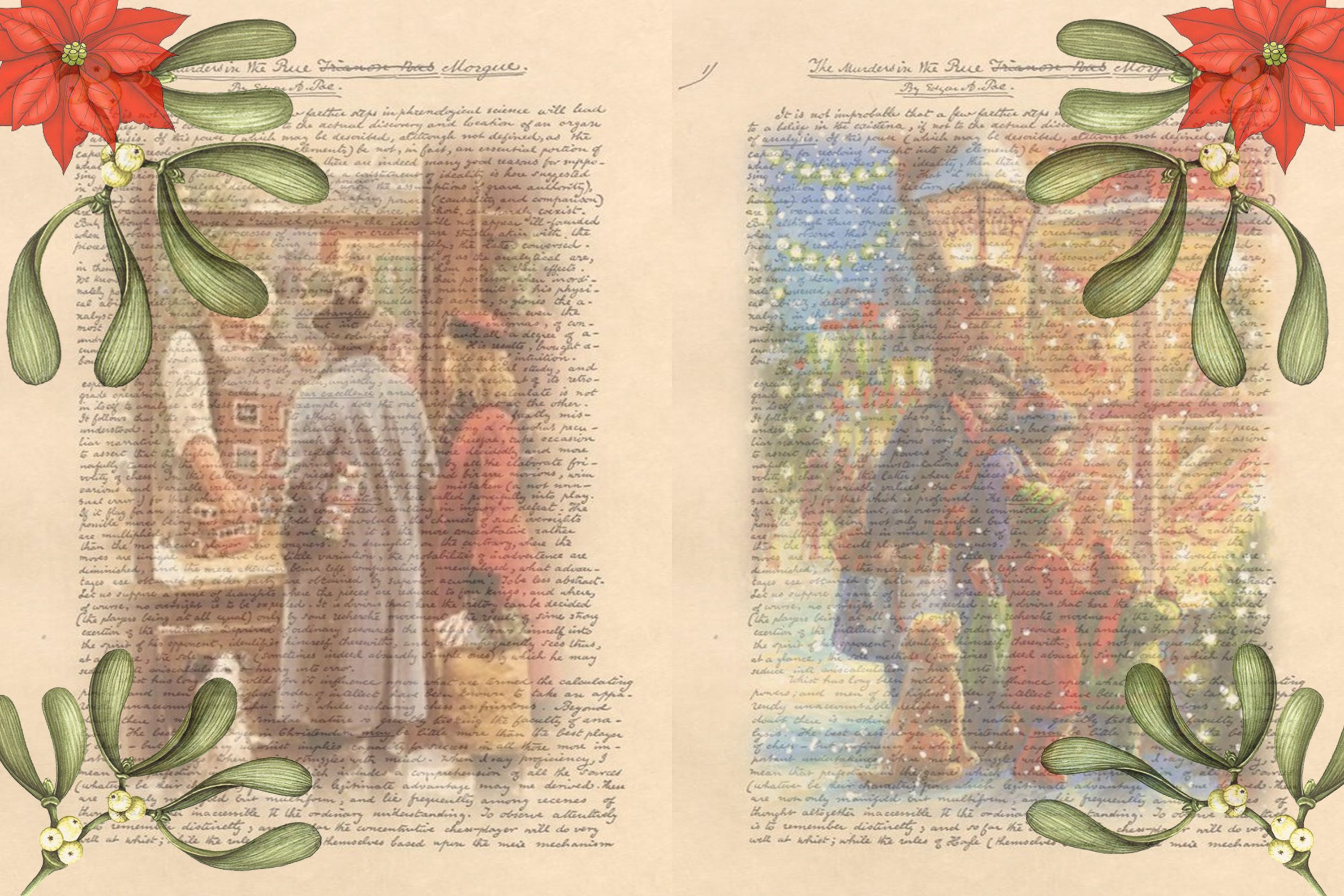 Victorian Christmas Backgrounds and Clipart JPEG PNG PDF example image 2
