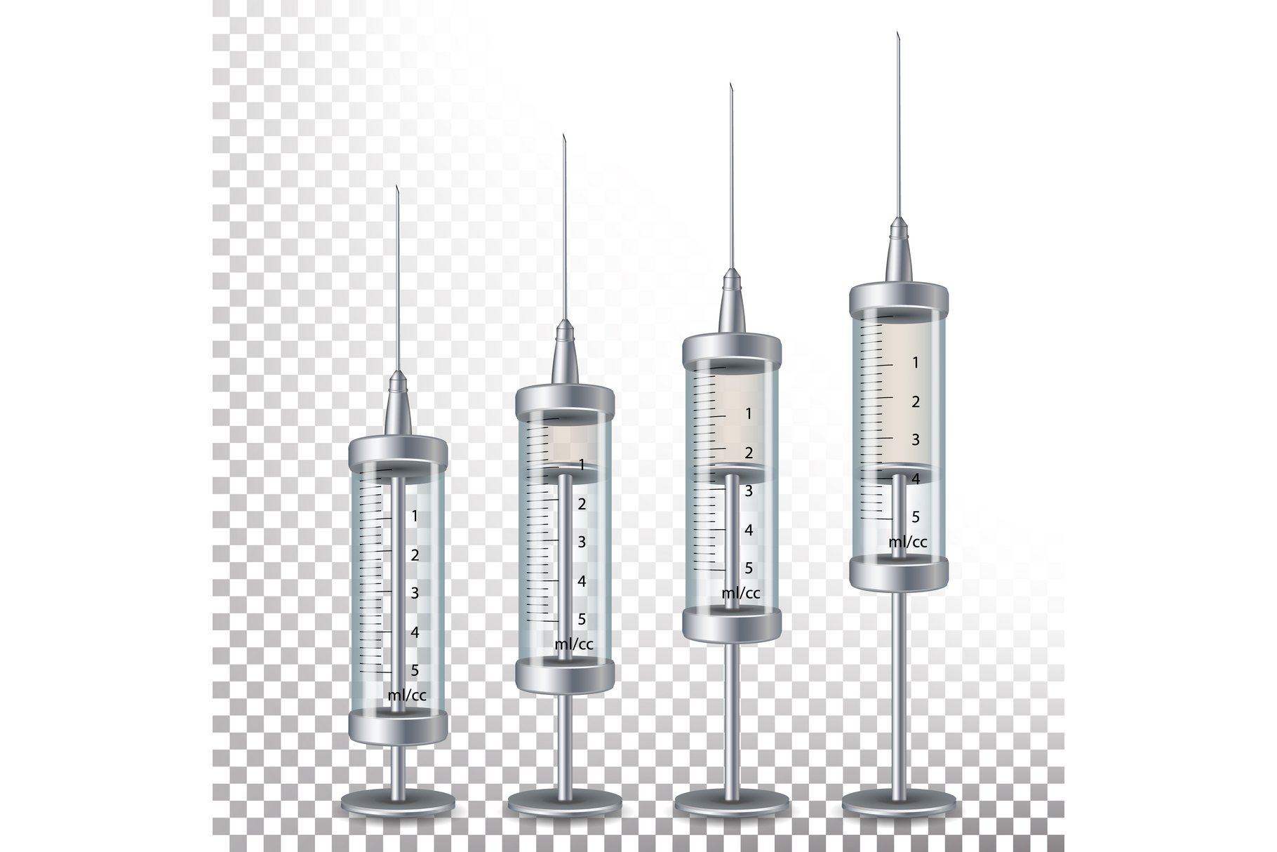 Glass Medical Syringe Isolated Vector. example image 1