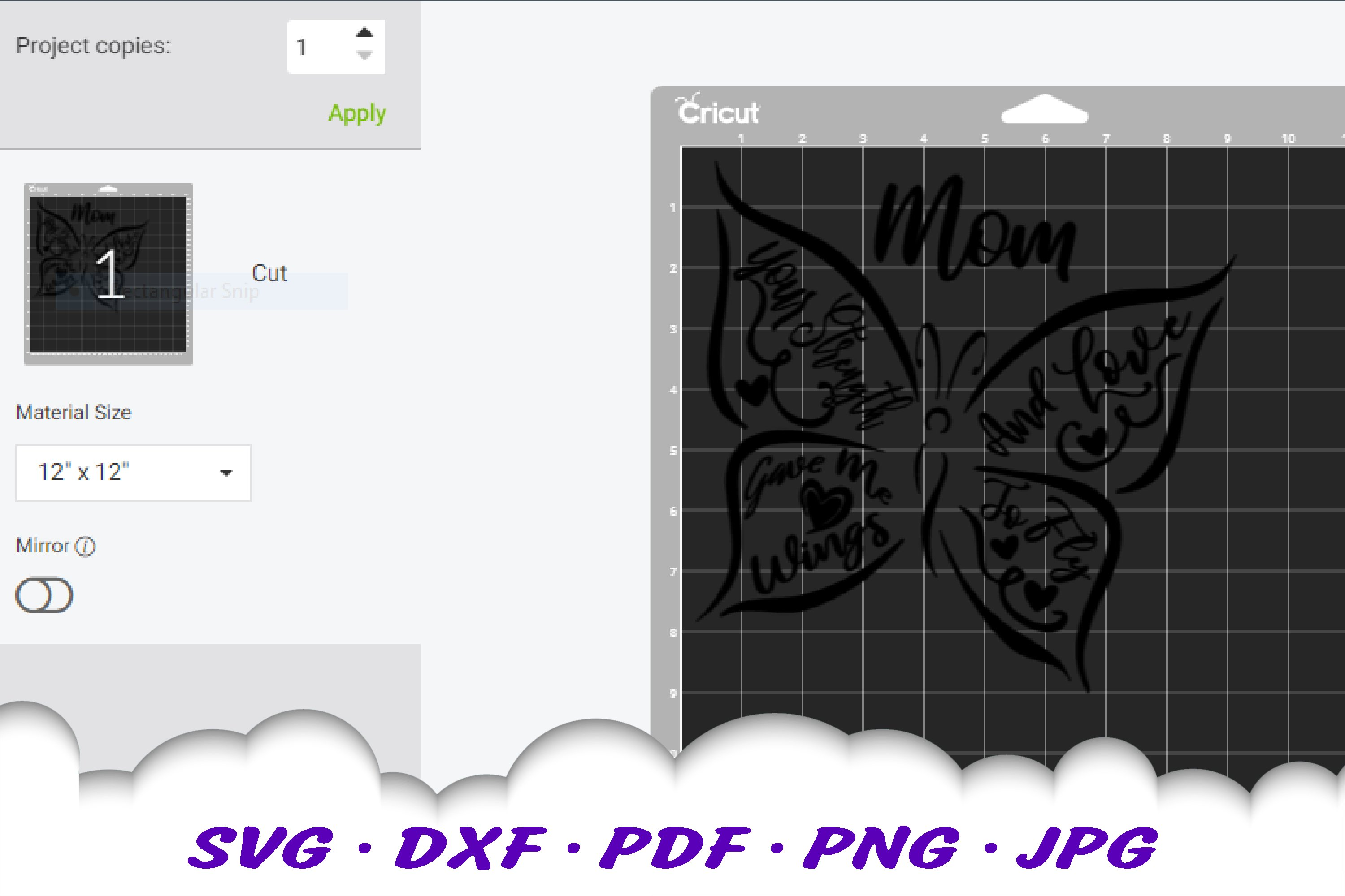 Mother's Day Butterfly Quote SVG DXF Cut Files example image 2